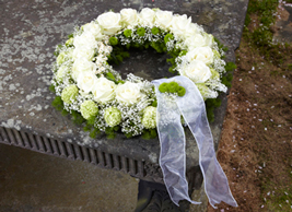 sympathy, white funeral wreath