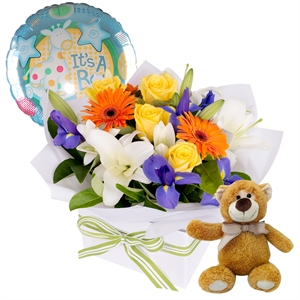 Its A Boy flowers ballon and bear
