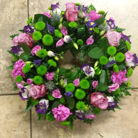 Purple Circle funeral wreath, Sympathy