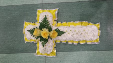 yellow cross tribute sympathy flowers